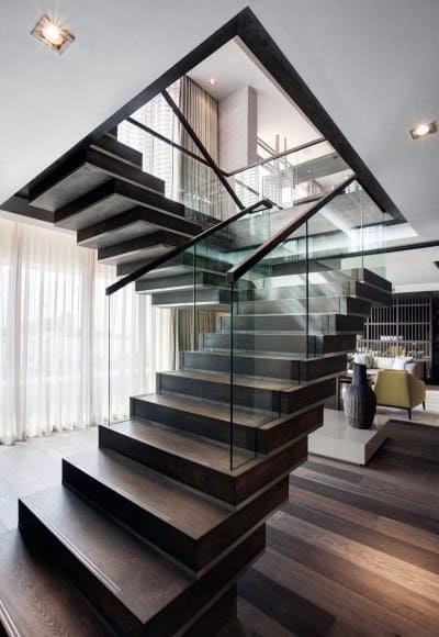 Stacked Wood Steps With Glass Railing Staircase Ideas