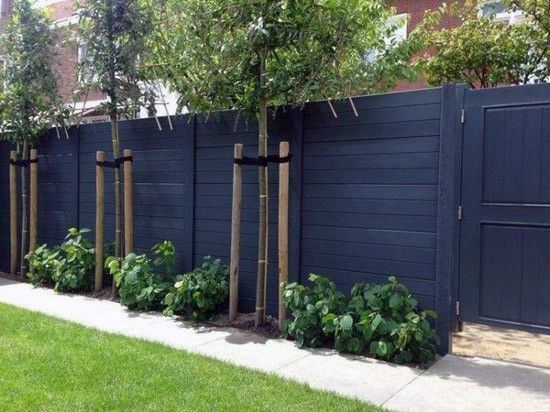 Stained Black Wood Designs Privacy Fence