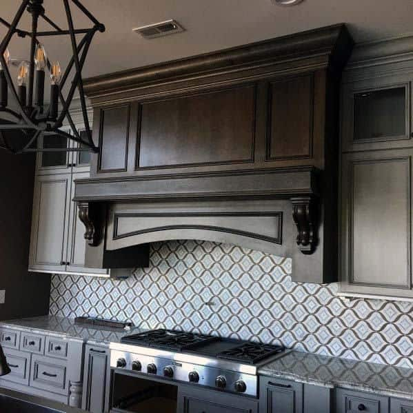 Stained Brown Wood Interior Kitchen Hood Design