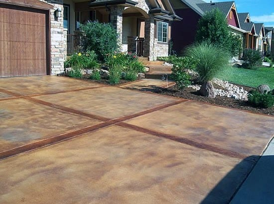 Stained Concrete Driveway Front Yard Ideas