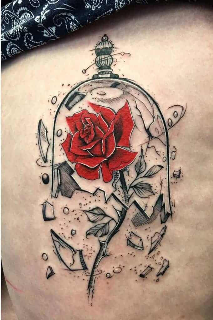 stained-glass-beauty-and-the-beast-rose-tattoos-gypsyeyestattoo-e1598862811837