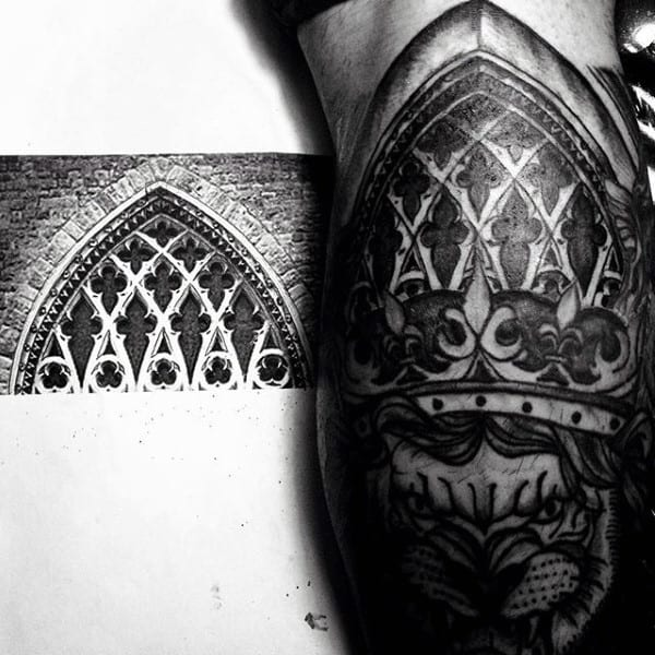 Stained Glass Church Windows Black Ink Shaded Male Arm Tattoo Design Ideas
