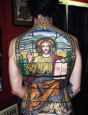 Stained Glass Full Back Male Tattoo Of Jesus Christ