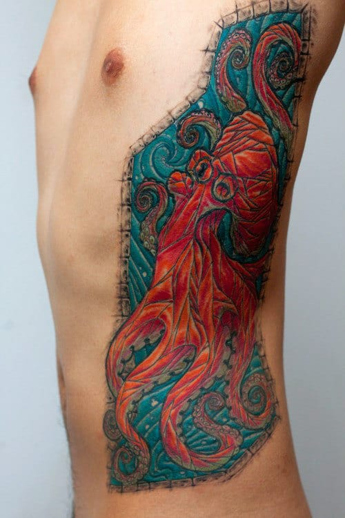 Stained Glass Octopus Mens Rib Cage Side Tattoo