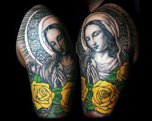 Stained Glass Tattoo Of Mother Mary And Bright Yellow Roses Mens Half Sleeve