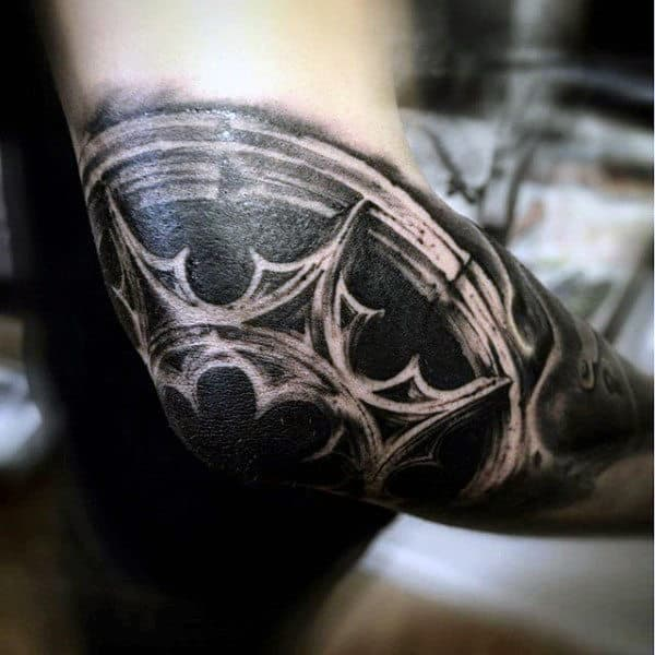 Stained Glass Window Awesome Mens Elbow Black Ink Tattoos