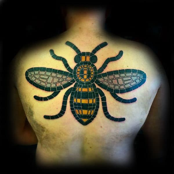 Stained Glass Window Bee Mens Upper Back Tattoo