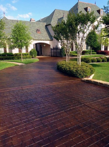 Stained Stamped Front Yard Designs Concrete Driveway