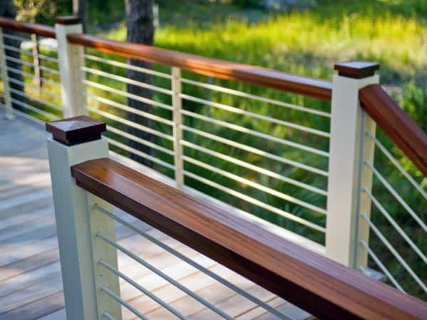 Stained Wood And Metal Deck Railing Ideas