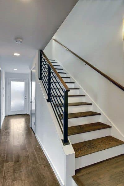 Stained Wood Basement Stairs Spectacular Ideas