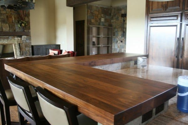 Stained Wood Board Bar Top Ideas
