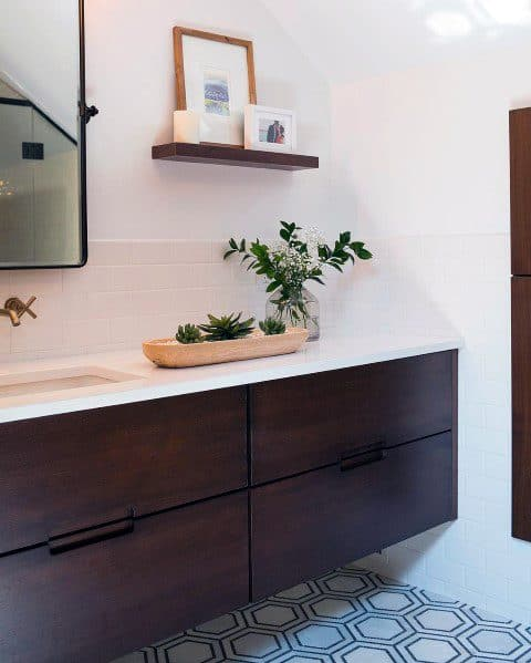 Stained Wood Contemporary Bathroom Vanity Ideas