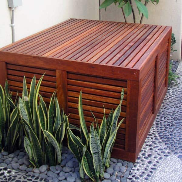 Stained Wood Pool Equipment Enclosure Ideas