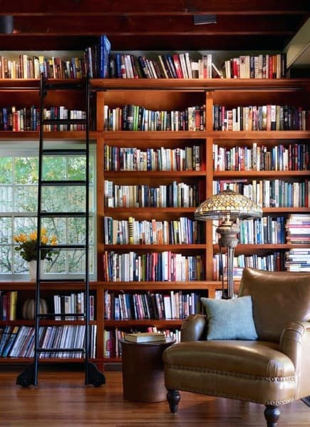 Stained Wood Traditional Floor To Ceiling Bookshelves Ideas