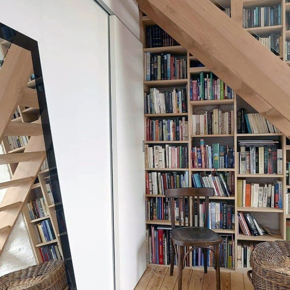 Staircase Floor To Ceiling Bookshelves Idea Inspiration