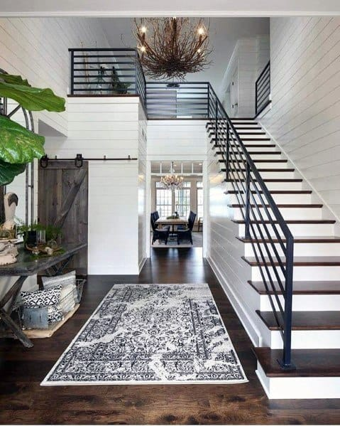 Staircase Foyer Shiplap Wall Spectacular Ideas