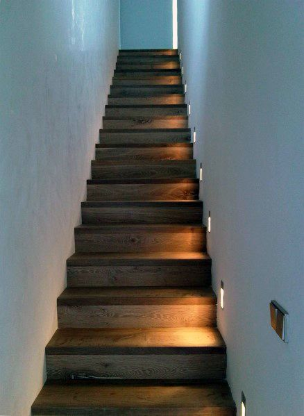 Beau Staircase With Lights On Walls Home Ideas