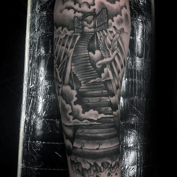 Stairs And Heavens Gate Tattoo On Mans Leg
