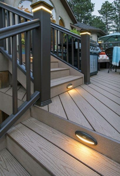 Stairs And Post Caps Deck Lighting Ideas