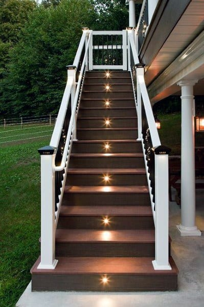 Stairs Center Small Circle Deck Lighting Ideas