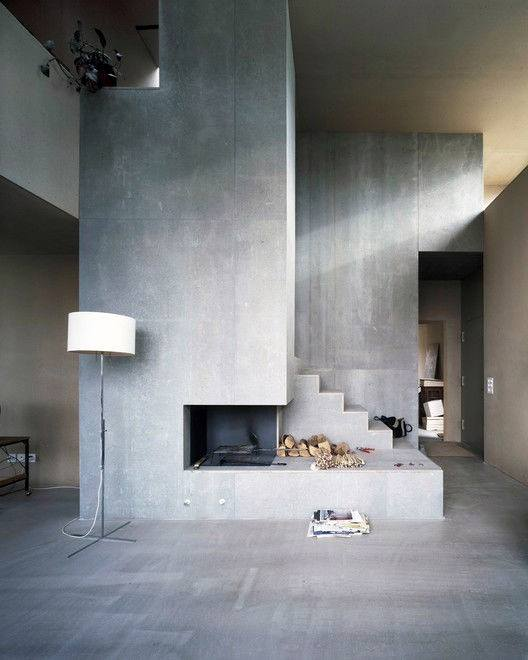 Stairs Concrete Fireplace Design