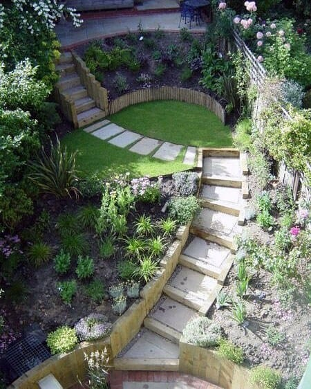 Stairs Slope Landscaping Design Ideas