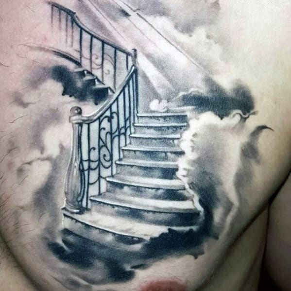 Stairs To Heaven Clouds Mens Shaded Watercolor Chest Tattoo