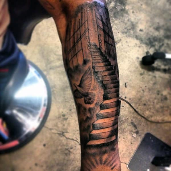 Stairs To Heaven Mens Leg Sleeve Tattoos