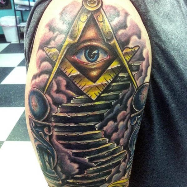 Stairs With All Seeing Eye Mens Masonic Upper Arm Tattoo Design