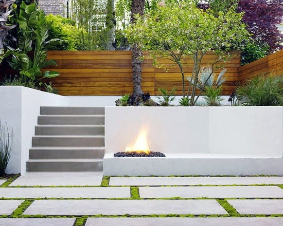 Stairs With Fire Pit Modern Landscape Design