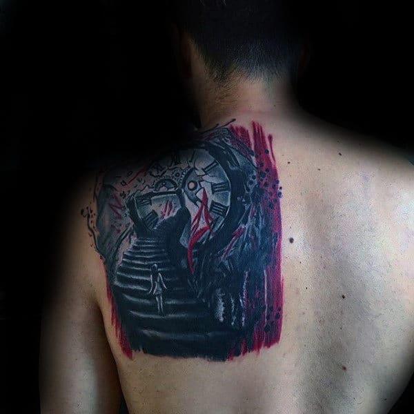 Stairway Guys Trash Polka Clock Back Tattoos