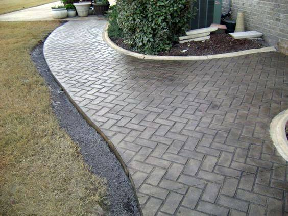Stamped Brick Stone Look Exterior Designs Concrete Walkway