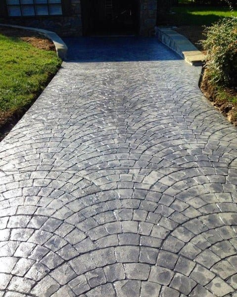 Stamped Concrete Cobblestone Driveway Front Yard Design