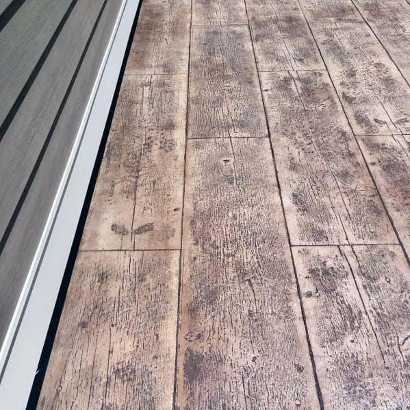 Stamped Concrete Patio Ideas Wood Boards Look