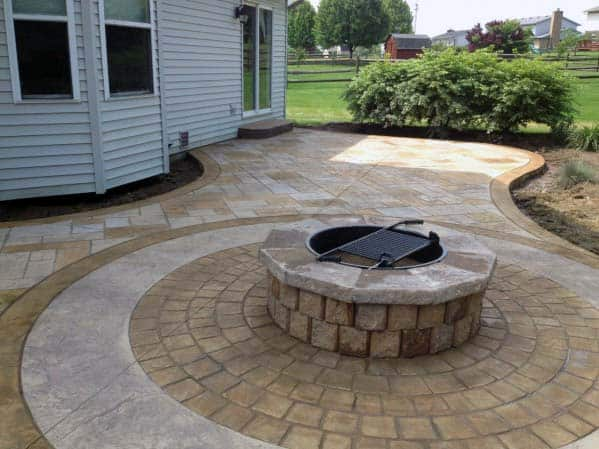 Stamped Concrete Patio Round Firepit