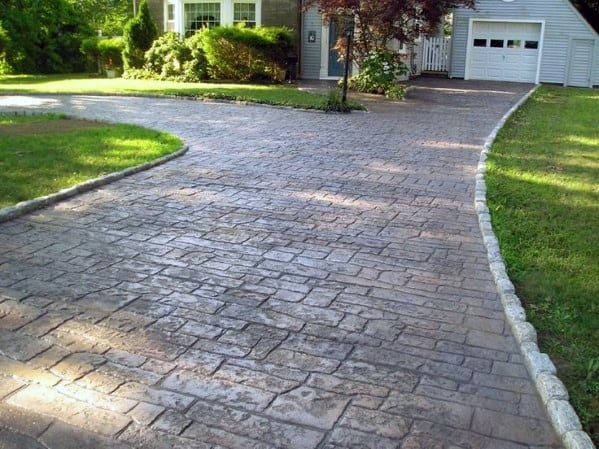 Stamped Stone Look Concrete Driveway Ideas