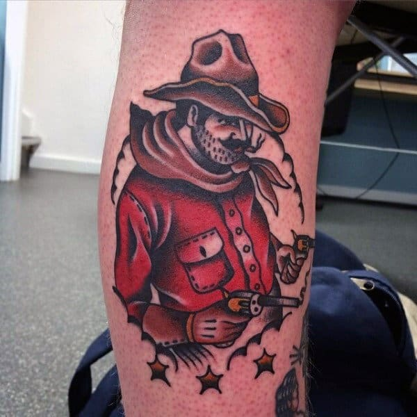 Stand Off Western Neo American Tattoo On Male