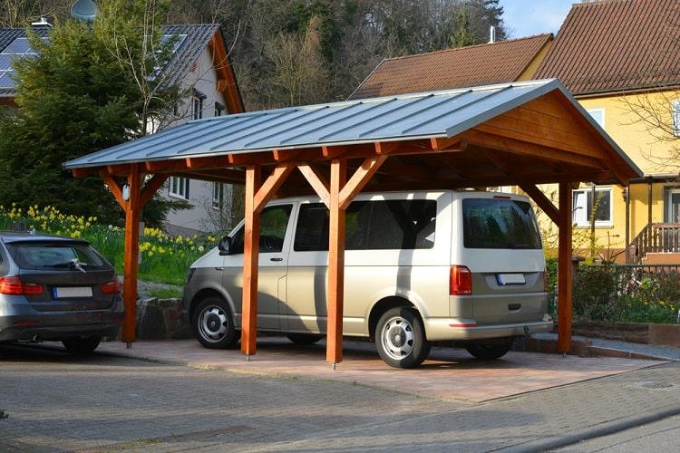Standing Seam Metal Roof Wooden Carport