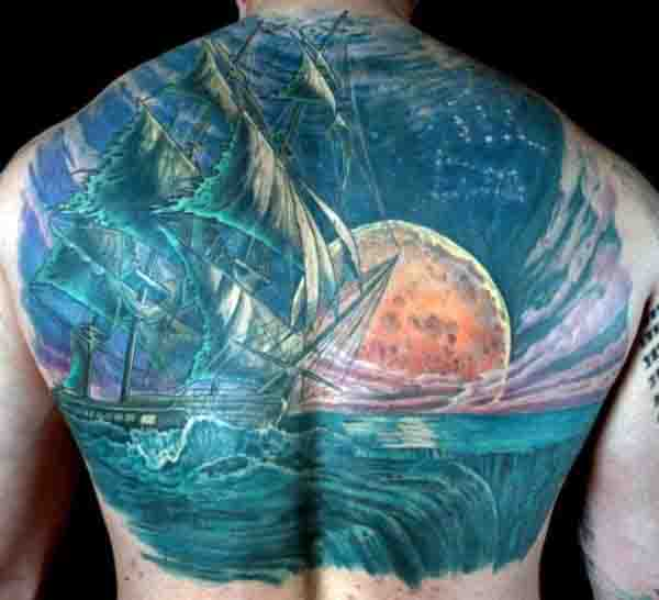 Star And Moon Tattoos For Guys On Back