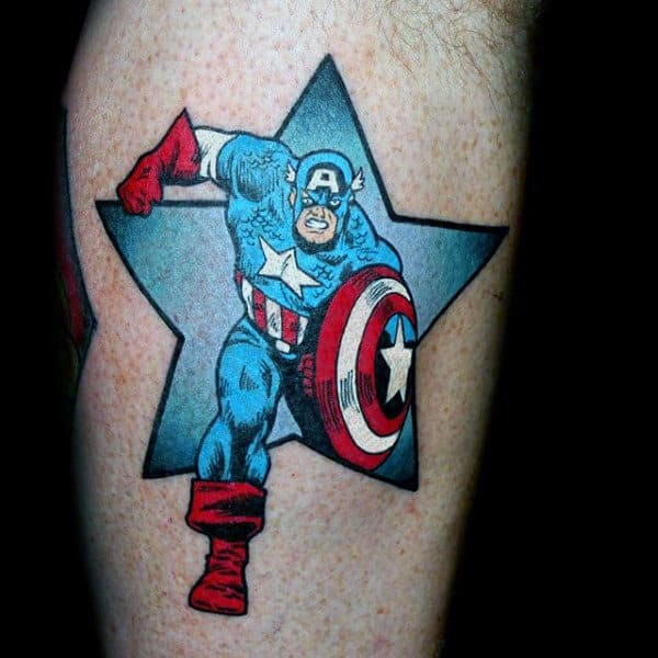 Star Captain America Small Mens Arm Tattoo Designs