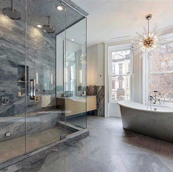 Star Chandelier Over Bath Tub Bathroom Lighting Design Idea Inspiration