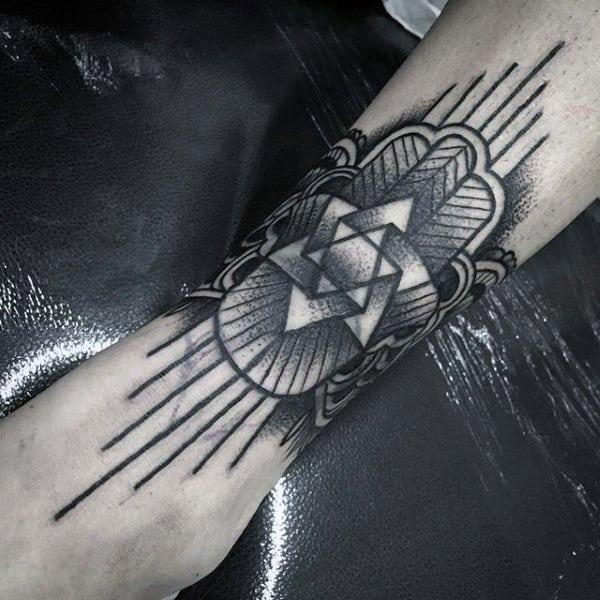 Star Hamsa Mens Lower Leg Tattoo Designs