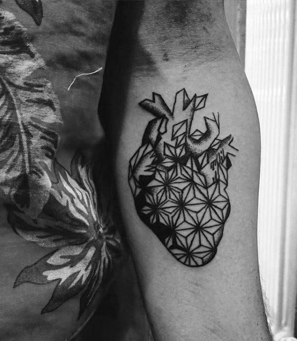 Star Pattern Geometric Heart Inner Forearm Tattoo On Man