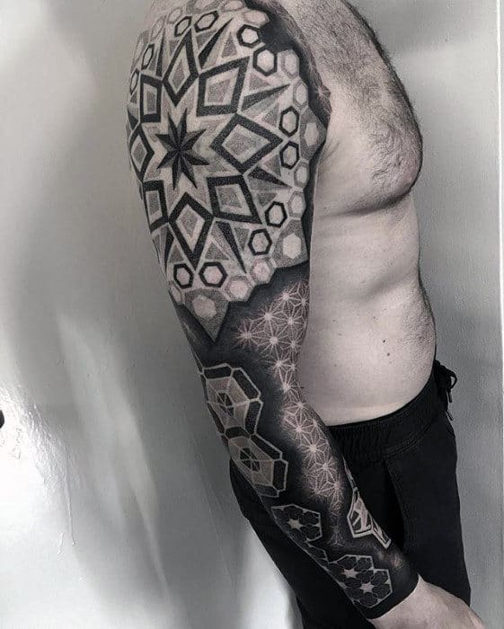Star Pattern Mens Geometric 3d Sleeve Tattoo