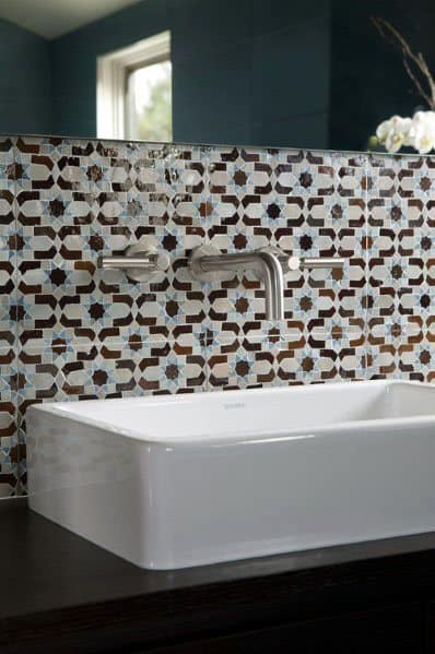 Star Pattern Tile Bathroom Backsplash Ideas With Wall Mounted Faucet And White Sink