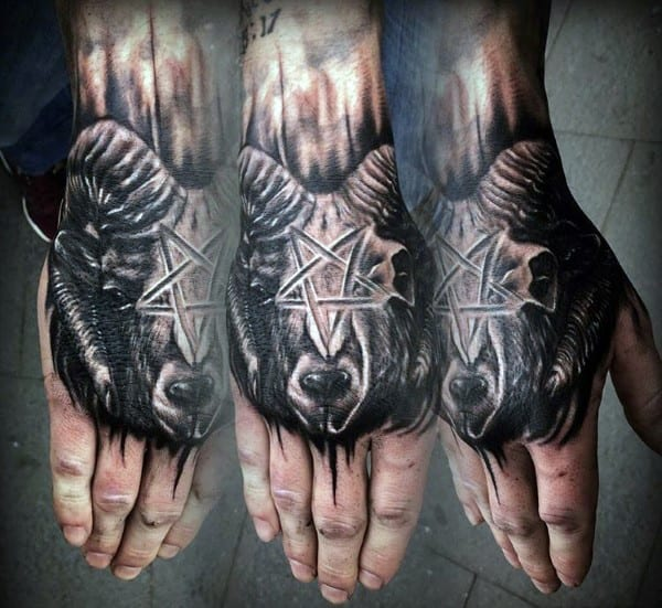 Star Ram Hand Tattoo For Men