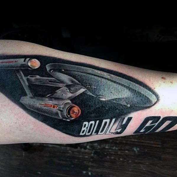 Star Trek Tattoo Design On Man On Outer Forearm
