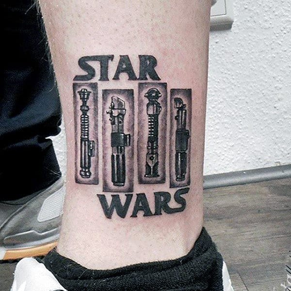 Star Wars Lightsabers Mens Lower Leg Tattoo Ideas