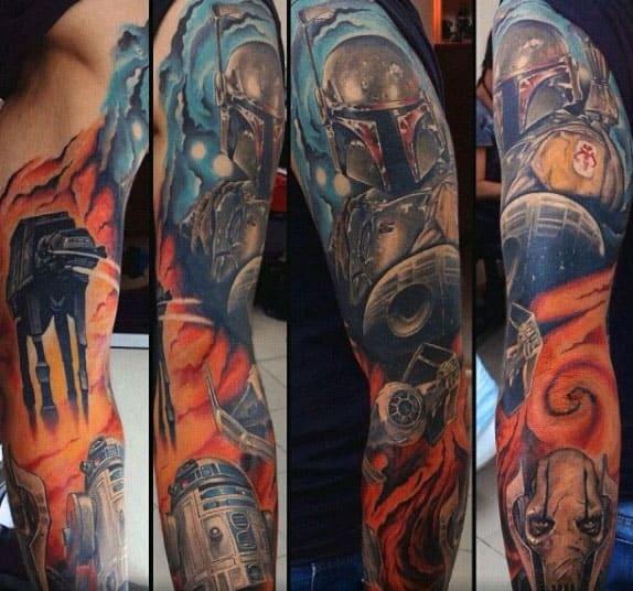 Star Wars Male Rd2d Full Arm Sleeve Tattoos