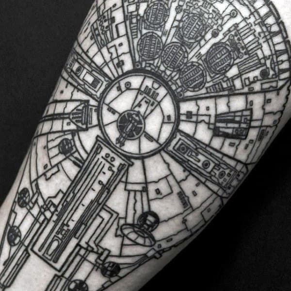Star Wars Space Ship Unique Mens Arm Tattoo